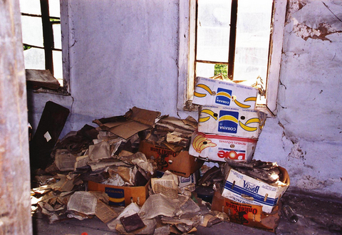 Discarded prayer books in women's balcony in Bershad synagogue