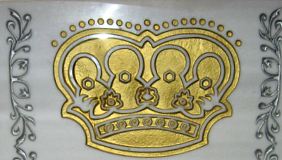 Crown on tombstone of R Pinchas