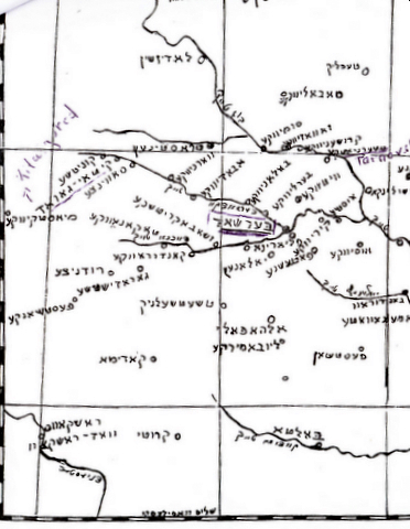 Map in Bershad yizkor book, 1946